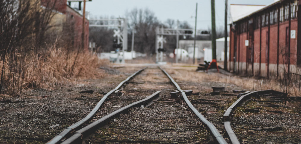 Dilapidated old section of train tracks